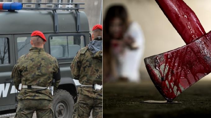 Żołnierz zaatakował żonę siekierą