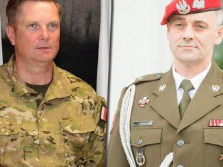 Komendant Oddziału Specjalnego ŻW płk Tomasz Szoplik (po lewej) i zastępca komendanta Komendy Głównej ŻW gen. bryg. Robert Jędrychowski (po prawej)