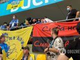 Neobanderowski baner na meczu Ukraina-Macedonia Płn. Służby kazały Ukraińcom go usunąć
